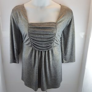 Halo Silver w/ Gold Flecks Ruched Blouse